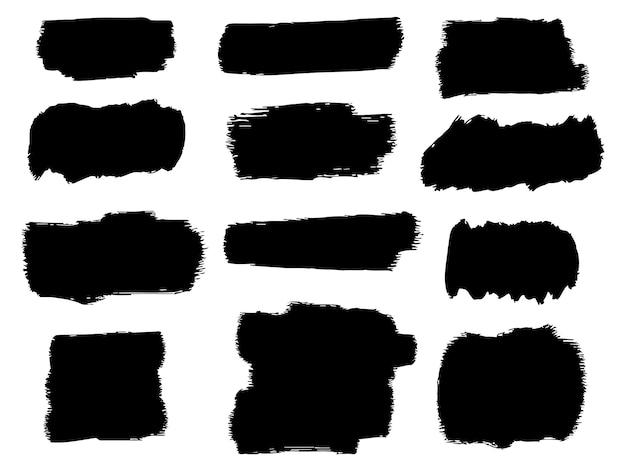 黒インクベクトルブラシストローク
