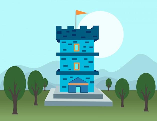 Синий замок на равнине и деревьях
