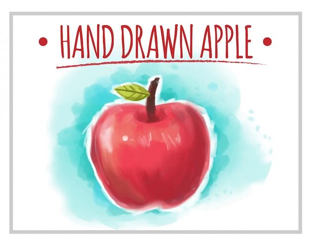 Красное рисованное яблоко с синим фоном позади