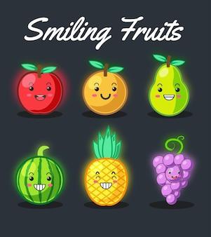 Набор улыбающихся фруктов