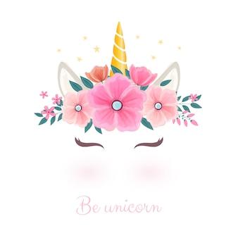花冠のかわいいユニコーンヘッド。