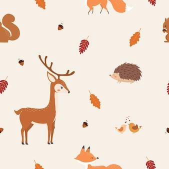 かわいい動物と秋のシームレスなパターン。
