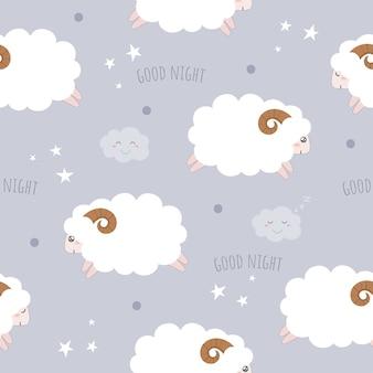 かわいい羊とシームレスなパターン。
