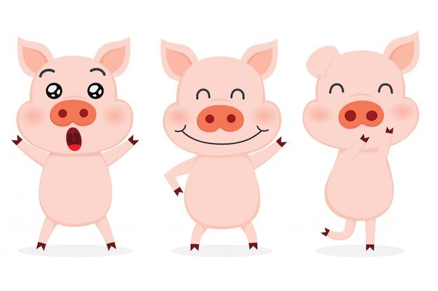 Набор милых свиней.