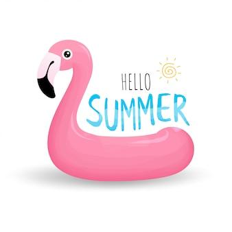 ピンクのフラミンゴの形をした水泳リング
