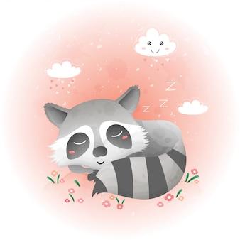 かわいいアライグマが花畑で眠っています。