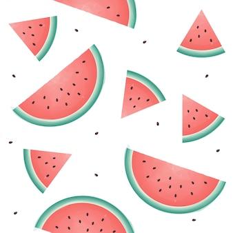 Бесшовный фон с кусочками арбуза. летний фон свежие фрукты.
