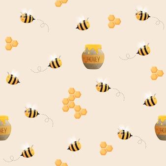 蜂のシームレスなパターン。飛んでいる蜂のイメージ。蜂とハニカム。