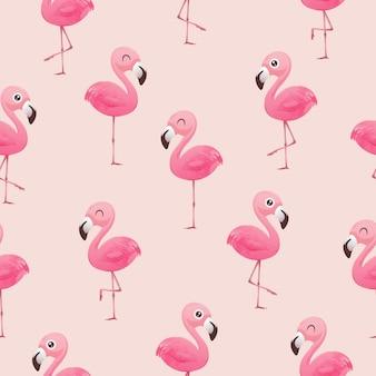 Красивые бесшовные векторные тропический узор с розовыми фламинго
