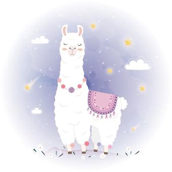 Симпатичный дизайн ламы с метеором