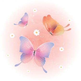 Симпатичная бабочка акварель. красивая летающая бабочка