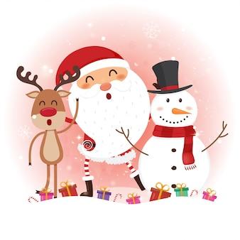 サンタクロース、雪だるま、トナカイのクリスマスカード。