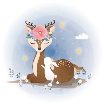 かわいい鹿と花、花の花輪と小さなウサギ