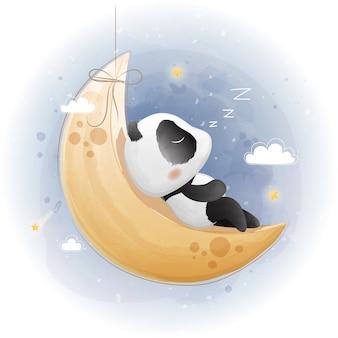 月に寝ているかわいいパンダ。水彩風