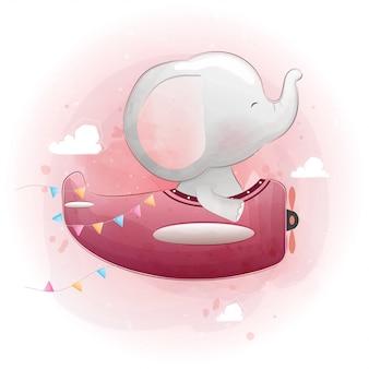飛行機で飛んでいるかわいい赤ちゃん象。水彩風ベクター