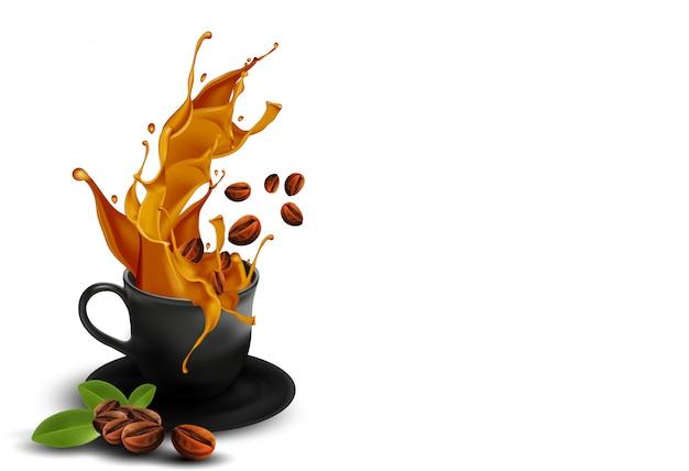 Кубок золотого кофе и кофейных зерен