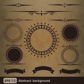 書道のデザイン要素やページ装飾、ベクトルを設定