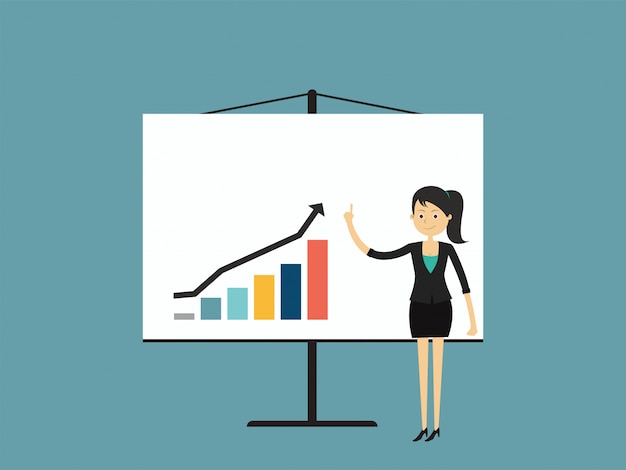 Деловая женщина указывает на растущий график.