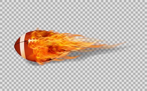 透明な背景に火のベクトルアメリカンフットボール。