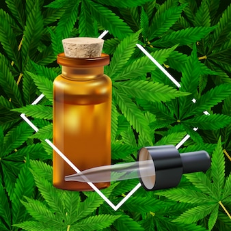 Фон листьев марихуаны или конопли. реалистичные иллюстрации завода в вид сверху.