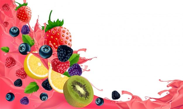 低カロリーの軽食、白い背景で隔離のための創造的な健康的なミックスフルーツ