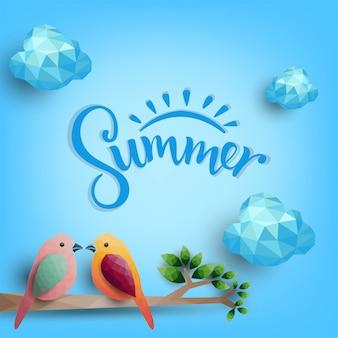夏の背景、多角形から枝に鳥、ベクトルイラスト。