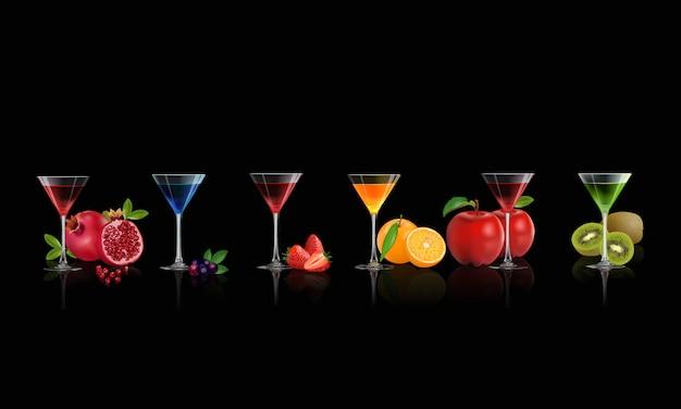 飲料のセット、夏に健康的なジューシーな新鮮なフルーツ。ベクトルイラスト