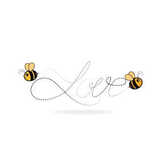 Любители пчел пишут слово любовь. векторная иллюстрация