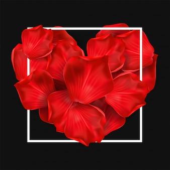 黒の背景に赤いバラで幸せなバレンタインデー。