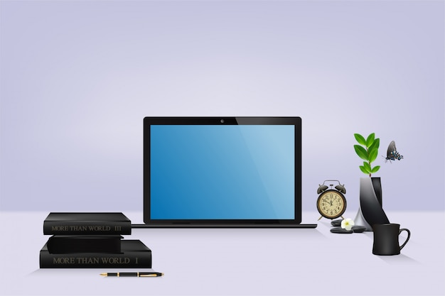 モダンな美しいホームオフィス、青い空の空白の画面、インテリアデザインとラップトップの職場。ベクトルとイラスト。