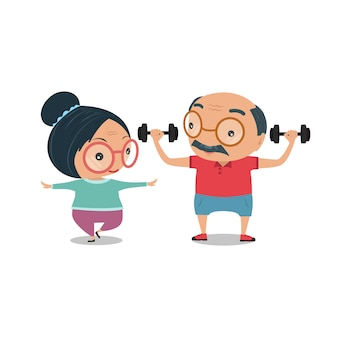 祖父母、古い年老いた彼らは一緒に健康のために運動を立っている