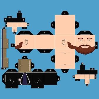 ペーパークラフトのひげひげの男
