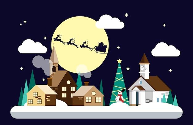 Санта-клаус на небе подходит к снегу городского пейзажа