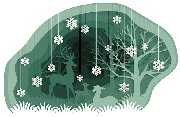 Бумага художественная резьба с семьей оленей в лесу со снежинкой.