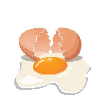新鮮な鶏卵に亀裂