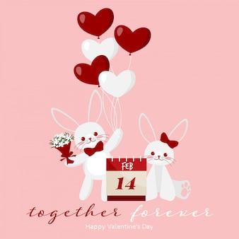 かわいいウサギのカップルとバレンタインデーの背景。