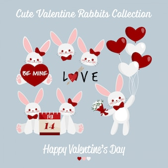 かわいいバレンタインウサギカップルコレクション。