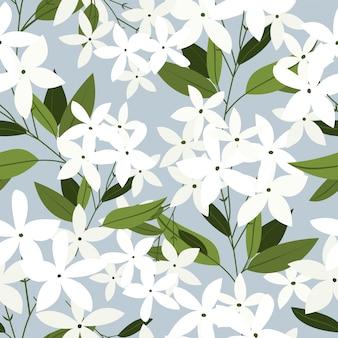 ジャスミンの花のシームレスなパターン。