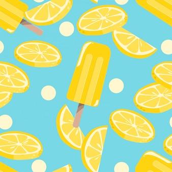 アイスキャンデーアイスクリームのシームレスパターン。