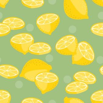 レモンスライスのシームレスなパターンベクトル。