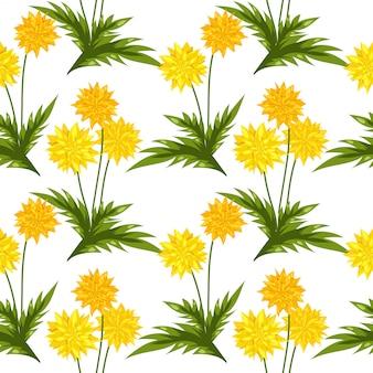 タンポポの花のシームレスなパターン。