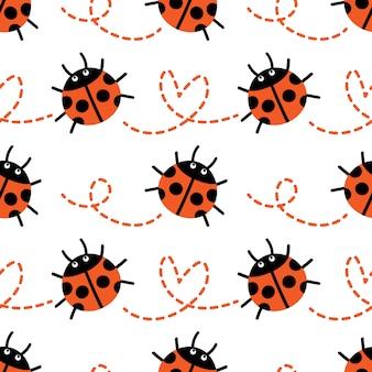 てんとう虫のシームレスなパターン。