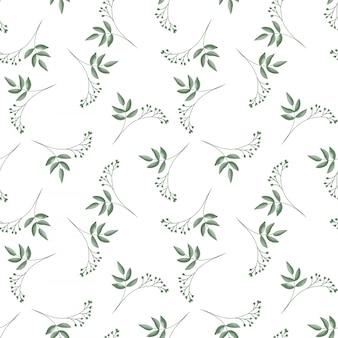 葉とかわいい小さな花の枝とのシームレスなパターン
