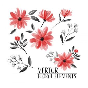 花コレクション水彩画の花セット。