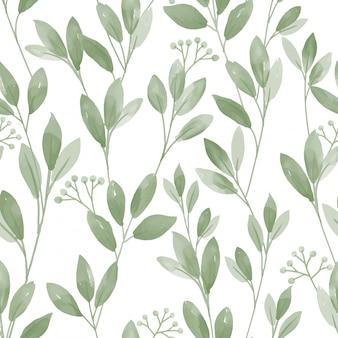 白地にかわいい葉とのシームレスなパターン。