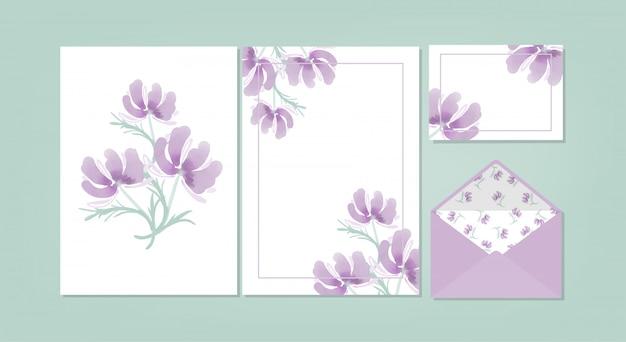 花の空白カードコレクション。