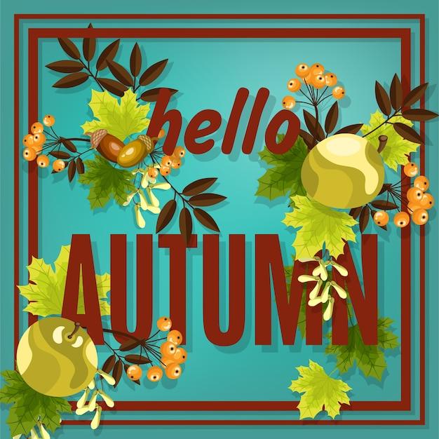 こんにちは秋のテキストと秋の花の背景。
