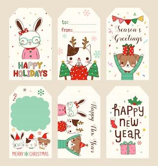 Набор веселых рождественских и счастливых новогодних подарочных меток в плоском стиле