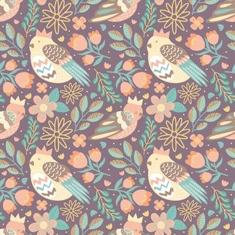 Птица бесшовный фон с цветами и листьями природы
