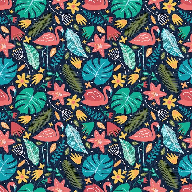 モンステラ咲く花自然シームレスパターンとフラミンゴ